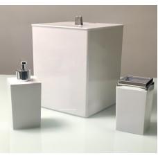 Kit Banheiro Quadrado Branco com Prata