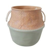Vaso Cerâmica Verde e Bege com Corda - Linha Premium