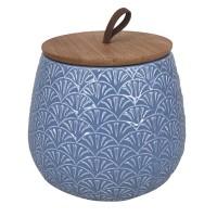 Pote de Cerâmica Azul com Tampa de Madeira - TAM M - Linha Premium