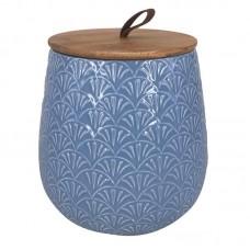 Pote de Cerâmica Azul com Tampa de Madeira - TAM G - Linha Premium