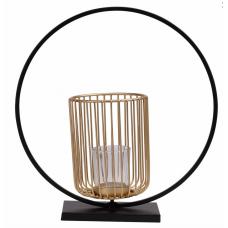 Castiçal de Metal Dourado e Preto 30 cm - TAM G - Linha Premium