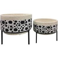 Conjunto Cachepot Cerâmica Bolinha com Base - Linha Premium