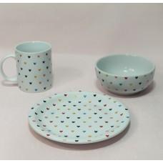Kit Café da Manhã Porcelana - Linha Coração