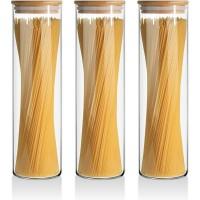 Kit 3 Potes Herméticos Vidro e Tampa Bambu 2000 ml